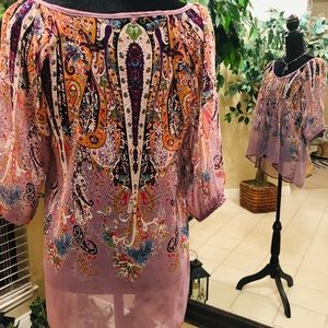 Angie Tops - Sheer tunic blouse
